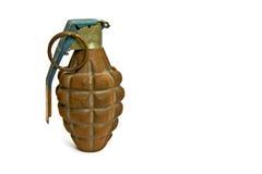在白色的被隔绝的老手手榴弹 免版税图库摄影
