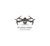 在白色的被隔绝的rc寄生虫商标 UAV技术略写法 无人空中车象 遥控设备标志 图库摄影