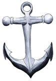 在白色的被绘的标志船锚 免版税库存照片