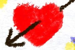 在白色的被绘的水彩美好的红色心脏隔绝了背景 免版税库存图片