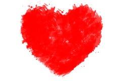 在白色的被绘的水彩美好的红色心脏隔绝了背景 图库摄影