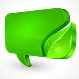 在白色的讲话绿色泡影 图库摄影