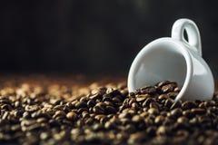 在白色的豆早餐咖啡理想的查出的宏指令 充分咖啡杯咖啡豆 被定调子的图象 免版税图库摄影