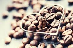 在白色的豆早餐咖啡理想的查出的宏指令 豆咖啡表单重点 库存照片