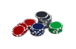 在白色的赌博的芯片 图库摄影
