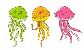 在白色的逗人喜爱的动画片水母 库存图片
