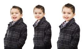 在白色的逗人喜爱的混合的族种男孩画象品种 免版税库存照片