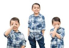 在白色的逗人喜爱的混合的族种男孩画象品种 免版税库存图片