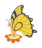 在白色的逗人喜爱的蝴蝶传染媒介 库存例证