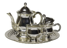 在白色的金属茶服务 免版税图库摄影
