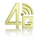 在白色的金黄4G标志与反射 免版税库存图片