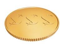 在白色的金1$硬币 免版税库存图片