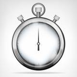 在白色的镀铬物秒表被隔绝的对象 免版税库存照片