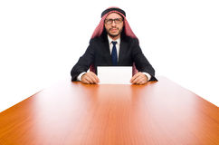 在白色的阿拉伯商人 库存图片