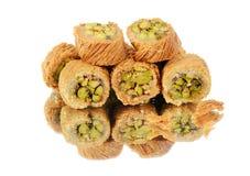 在白色的阿拉伯甜点 免版税库存图片