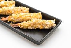 在白色的面团油煎的大虾 库存照片