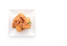 在白色的面团油煎的大虾 免版税库存图片