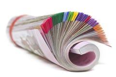 在白色的颜色杂志 免版税库存图片