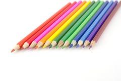 在白色的颜色铅笔 免版税库存照片