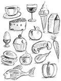 在白色的食物乱画 库存图片