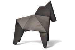 在白色的马origami 免版税库存照片