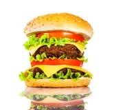 在白色的鲜美和开胃汉堡包 库存照片