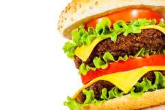 在白色的鲜美和开胃汉堡包 库存图片