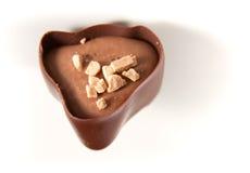 在白色的黑暗的巧克力 免版税库存照片