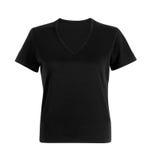 在白色的黑人妇女T恤杉 免版税图库摄影