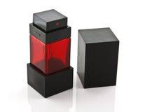 在白色的黑和红色箱子被隔绝的 免版税库存图片
