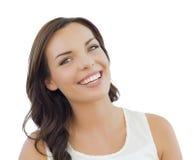 在白色的年轻妇女特写画象 免版税库存图片