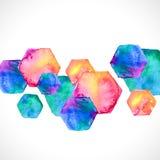 在白色的水彩明亮的六角形 皇族释放例证