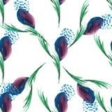 在白色的水彩紫罗兰色花卉无缝的传染媒介样式 免版税图库摄影