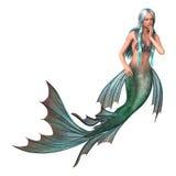 在白色的幻想美人鱼 免版税库存照片