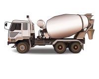 在白色的水泥搅拌车卡车 免版税库存图片