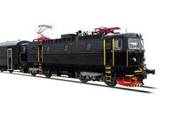 在白色的黑火车 免版税库存图片