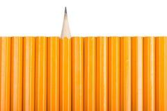 在白色的黄色木铅笔 库存图片