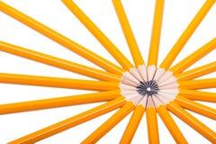 在白色的黄色木铅笔 库存照片