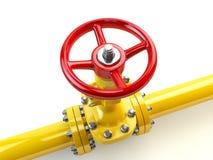 在白色的黄色煤气管线阀门 燃料和能量我 免版税图库摄影