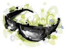 在白色的黑Sunglass 库存图片