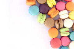在白色的macarons colorfull 图库摄影