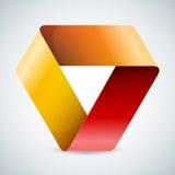 在白色的Moebius origami五颜六色的纸三角 免版税库存照片