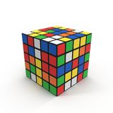 在白色的Rubiks立方体5x5 3d例证 图库摄影