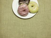 在白色盘的多彩多姿的油炸圈饼 库存照片