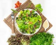 在白色盘的沙拉膳食 库存图片