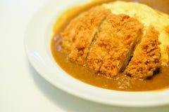 在白色盘的辣酥脆猪肉炸肉排煎蛋卷咖喱服务 免版税库存图片