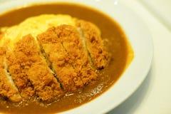 在白色盘的辣酥脆猪肉炸肉排煎蛋卷咖喱服务 图库摄影
