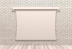 在白色砖墙上的幻灯机屏幕 免版税库存照片