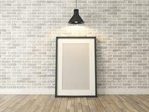 在白色砖墙和木头上的画框 免版税库存图片