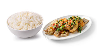 在白色碗可口食物的米 图库摄影